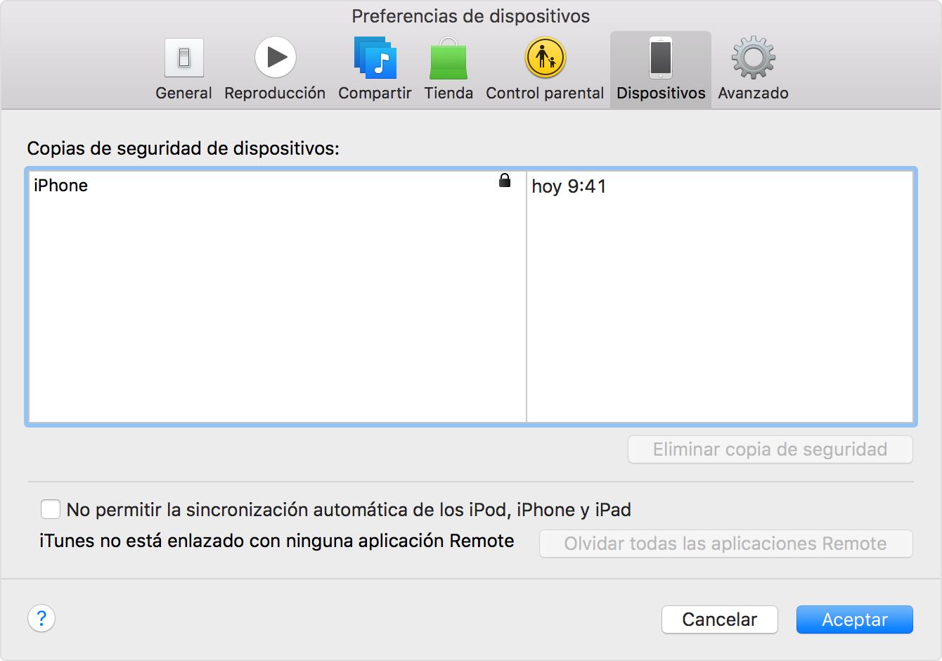 En iTunes, haz clic en Preferencias y luego selecciona Dispositivos.