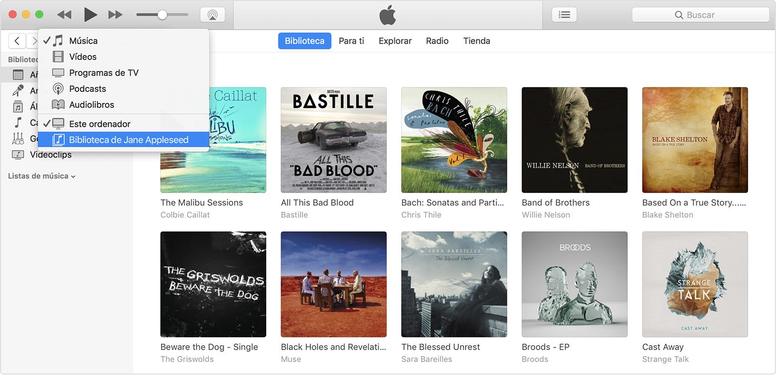 Utilizar Compartir en casa para compartir contenido de iTunes con ...