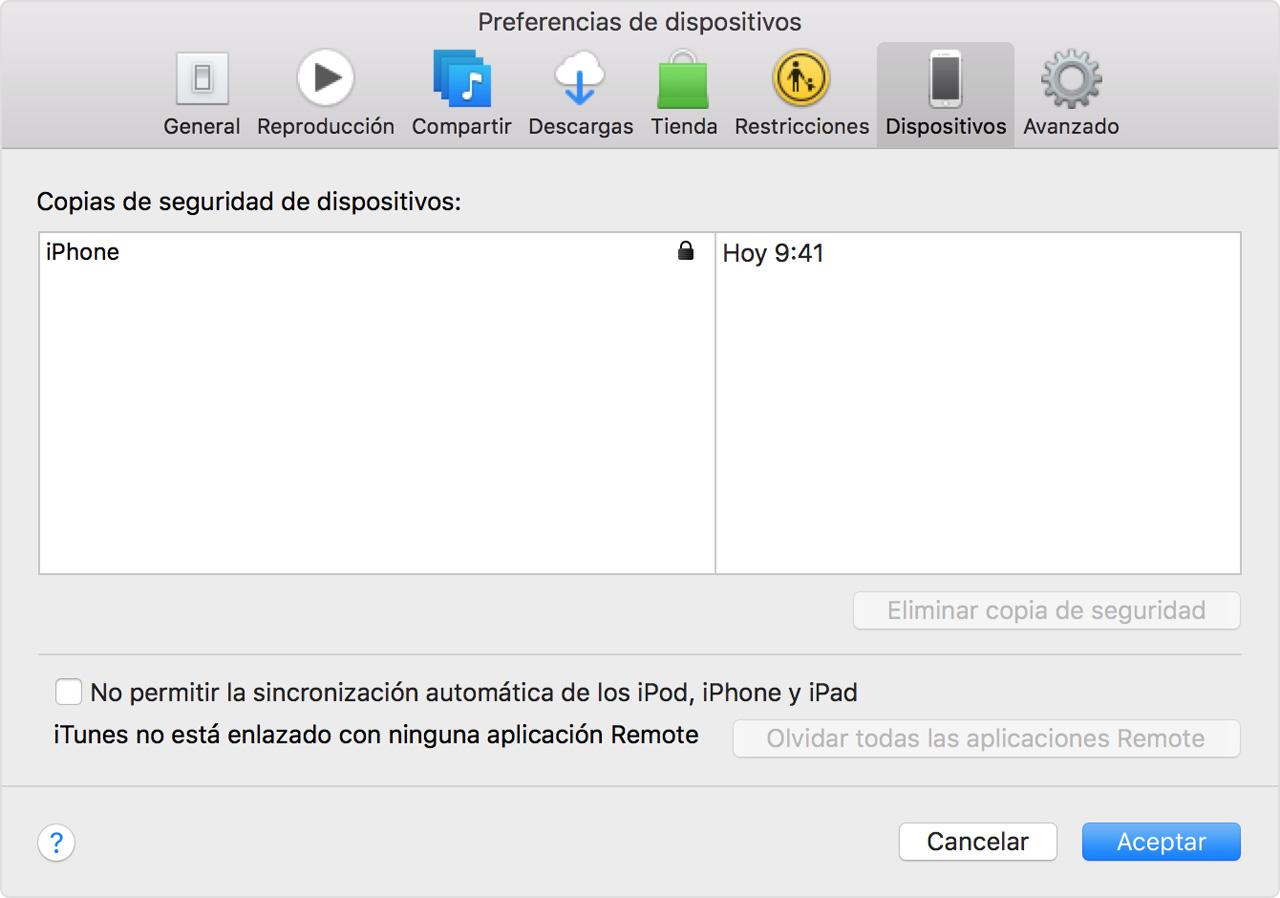 Preferencias de dispositivos - iTunes