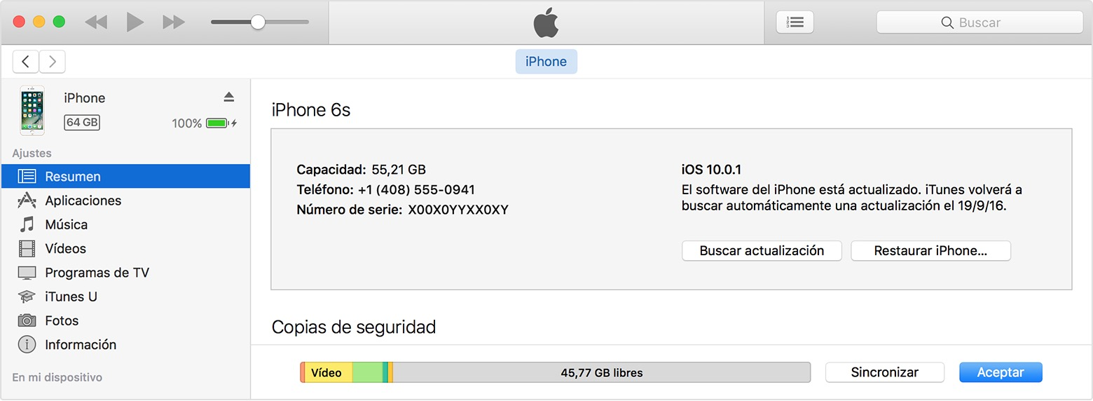 Restaurar el iPhone en iTunes