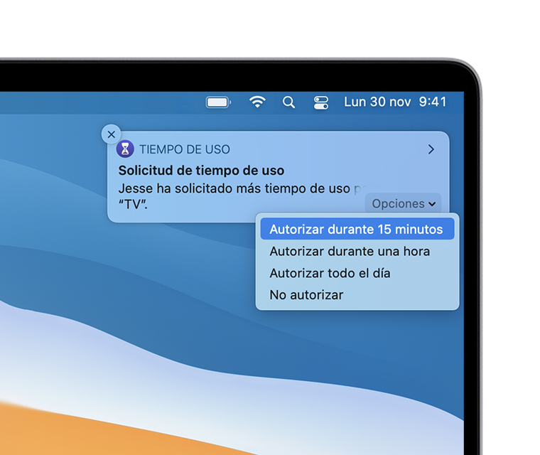 Notificación de solicitud de tiempo de pantalla en el escritorio de macOS