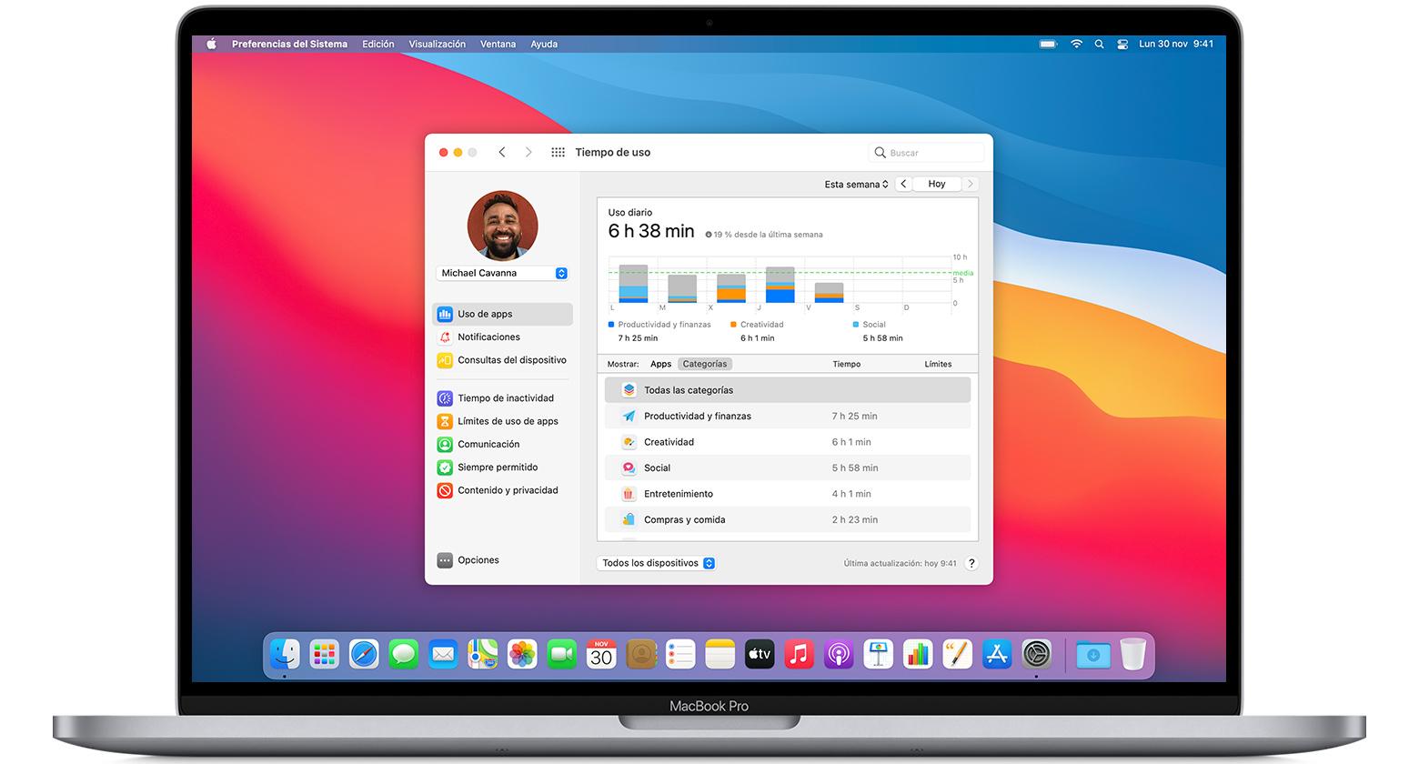 MacBookPro con la ventana de preferencias del sistema de Tiempo de uso abierta