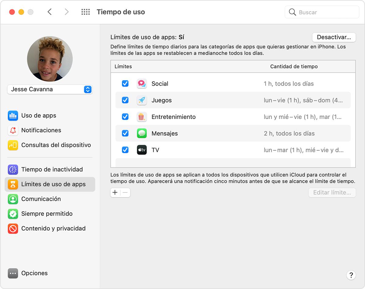 Preferencias de tiempo de pantalla: Límites de uso de apps