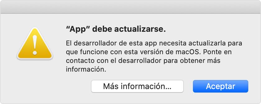 Alerta de Catalina: la app debe actualizarse