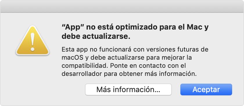 Alerta de Mojave y HighSierra: la app no está optimizada para tu Mac y debe actualizarse