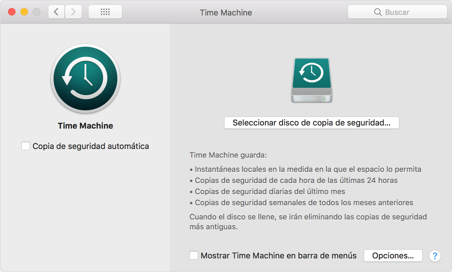 Ventana de preferencias de Time Machine