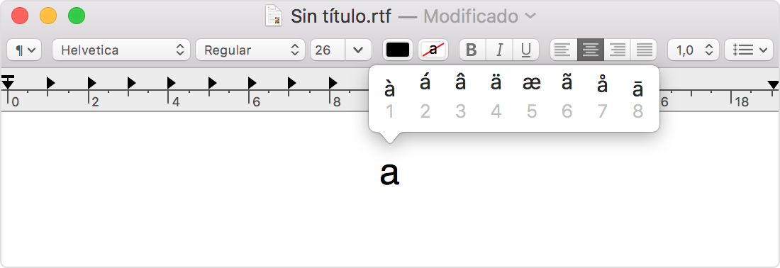 simbolos en mac