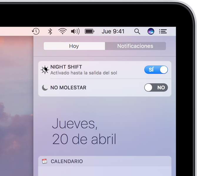 Ajuste de Night Shift en el Centro de notificaciones