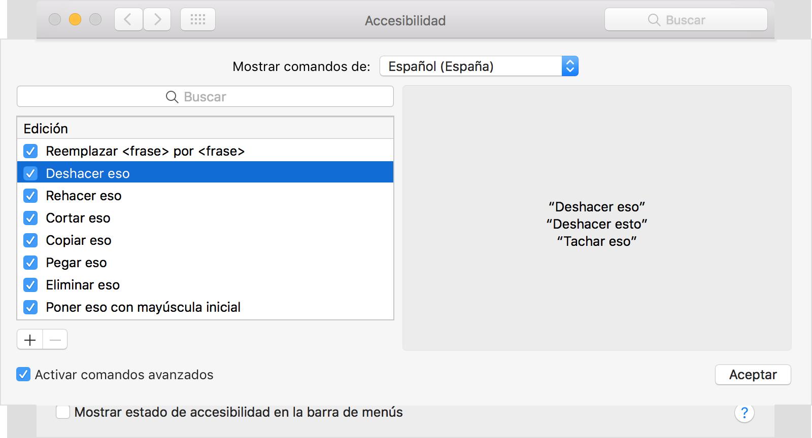comando para seleccionar todo en mac