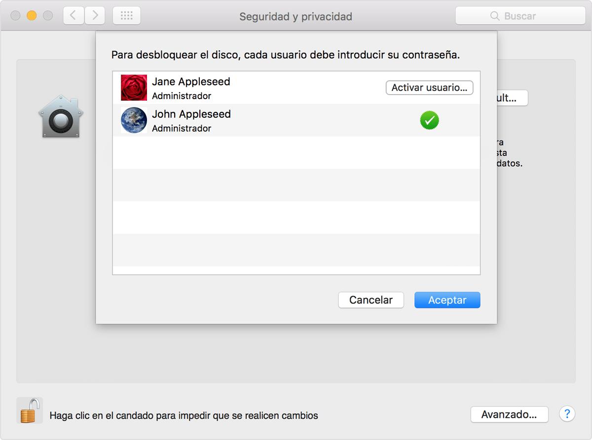 Utilizar filevault para encriptar el disco de arranque del - Restablecer contrasena ...