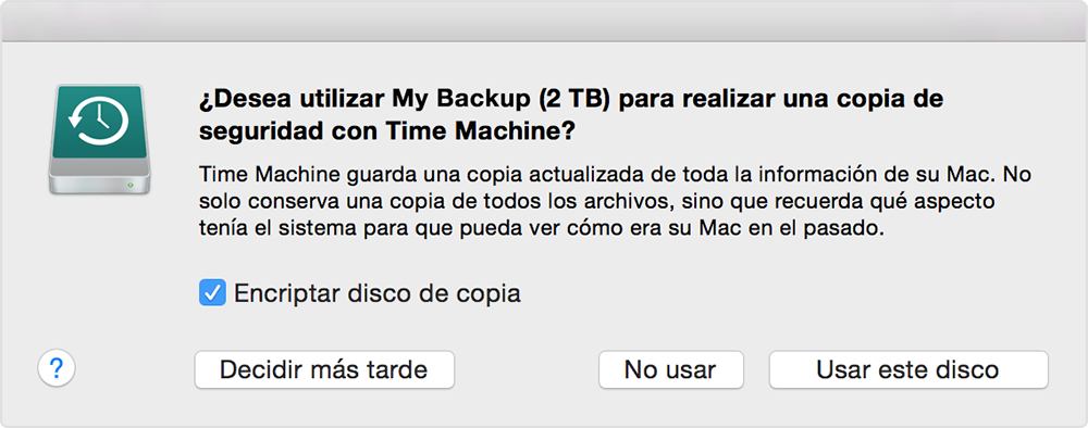 Aviso: ¿Quieres utilizar este disco para realizar una copia de seguridad con Time Machine?