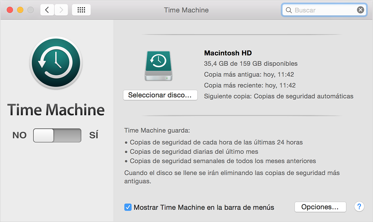 Preferencias de Time Machine