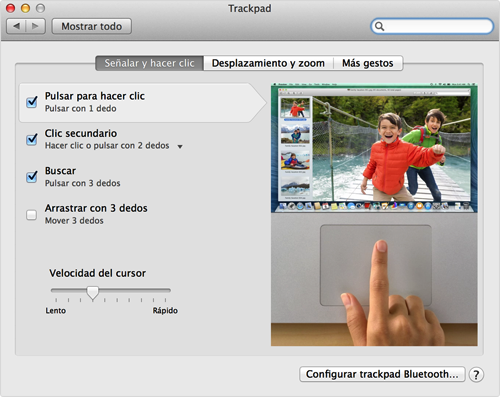 Preferencias del trackpad