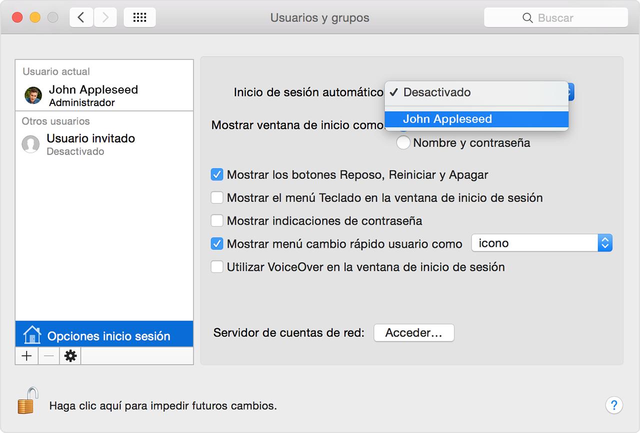 Configurar el Mac para que inicie sesión automáticamente durante el ...