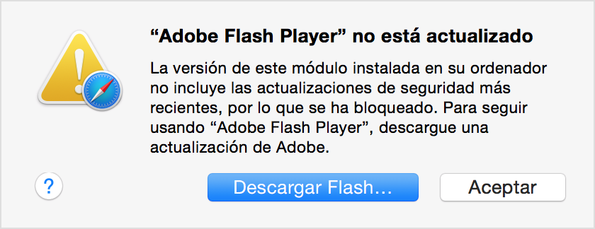 Mensaje de Flash obsoleto