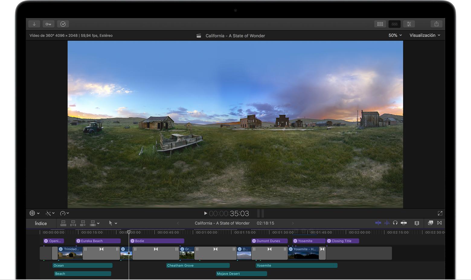 Editar vídeos de 360° en Final Cut Pro X 10.4 - Soporte técnico de Apple