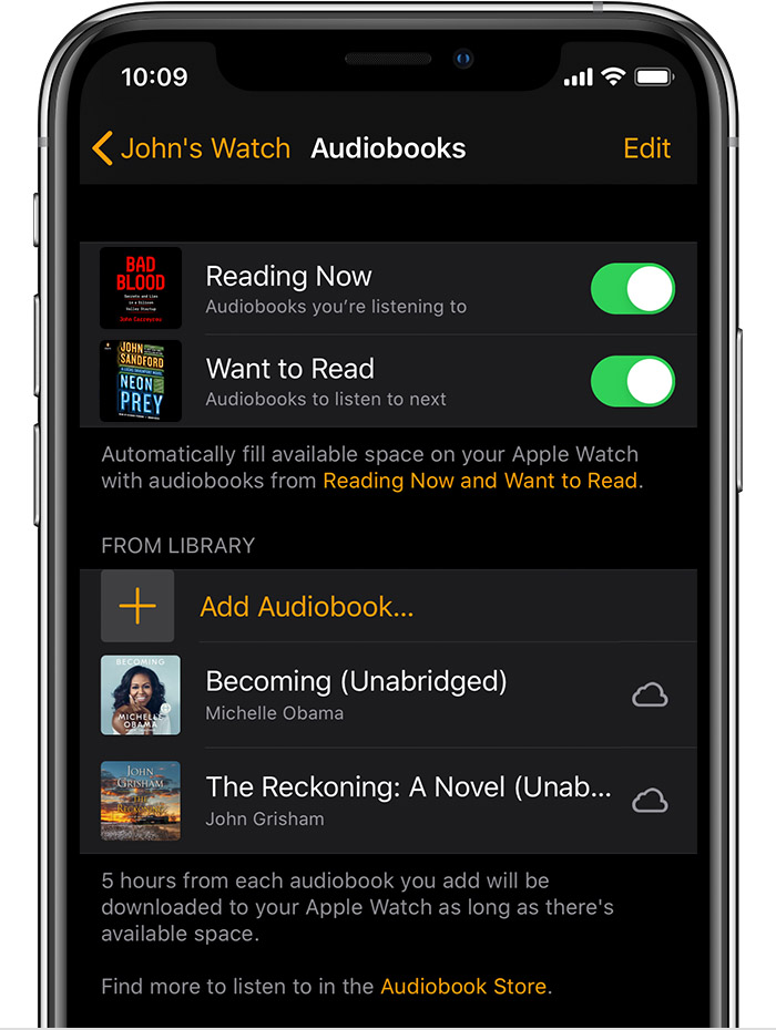 Un iPhone que muestra audiolibros en la app Apple Watch.