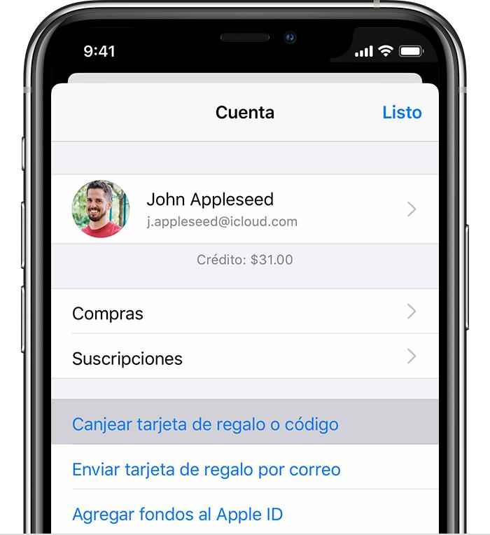 iPhone que muestra la opción Canjear código o tarjeta de regalo.