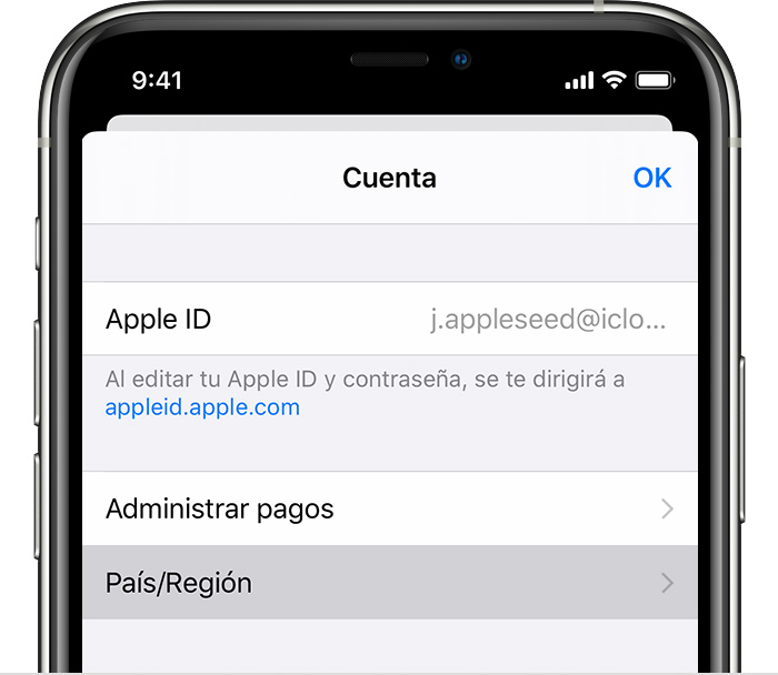 iPhone en el que se muestra la página Configuración de la cuenta.