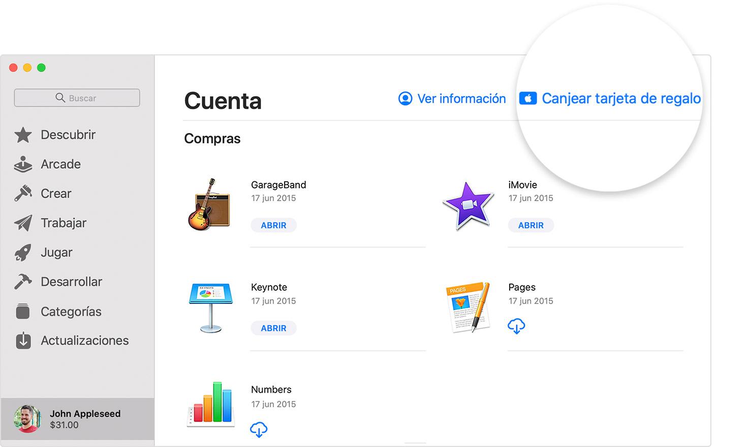 Mac en la que se muestra el botón Canjear tarjeta de regalo en AppStore.