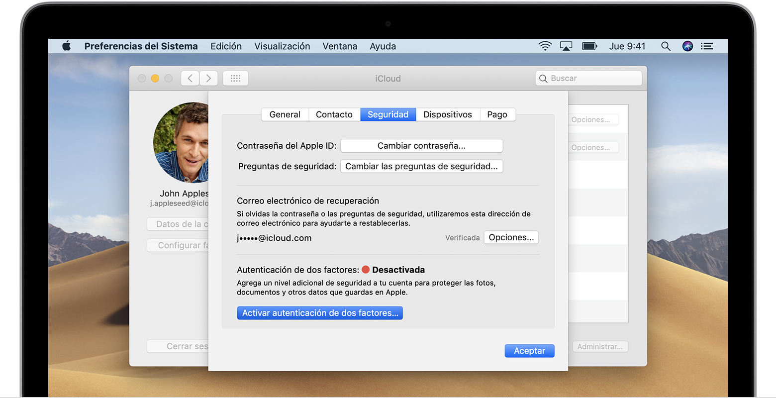 328f6a08ca3 Ve al menú Apple () > Preferencias del sistema > iCloud > Datos de la  cuenta.