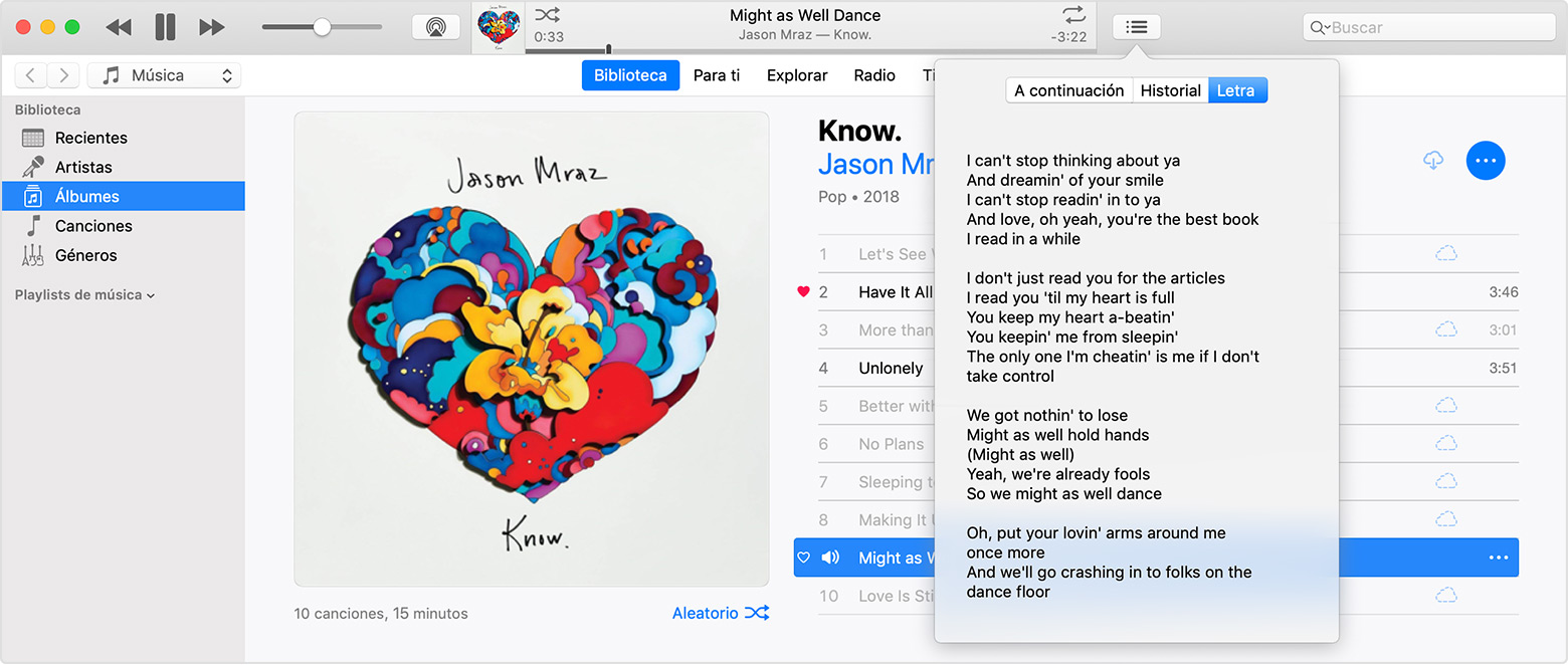"Una ventana de iTunes con el menú de letras abierto en la letra de la canción de Jason Mraz ""Might As Well Dance""."