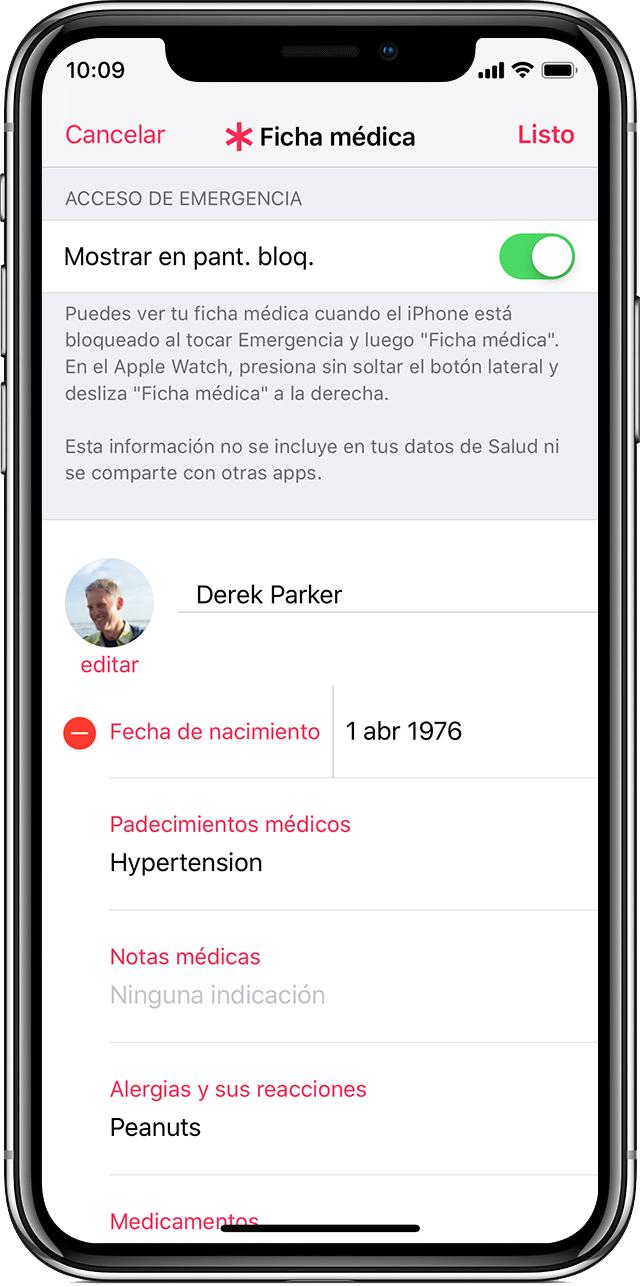 Fichamédica de DerekParker en la app Salud.