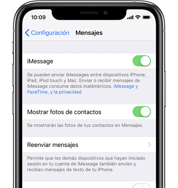 Configuración de iMessage en iPhone.