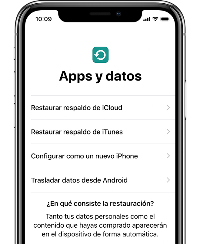 Opción Apps y datos en un iPhone X.