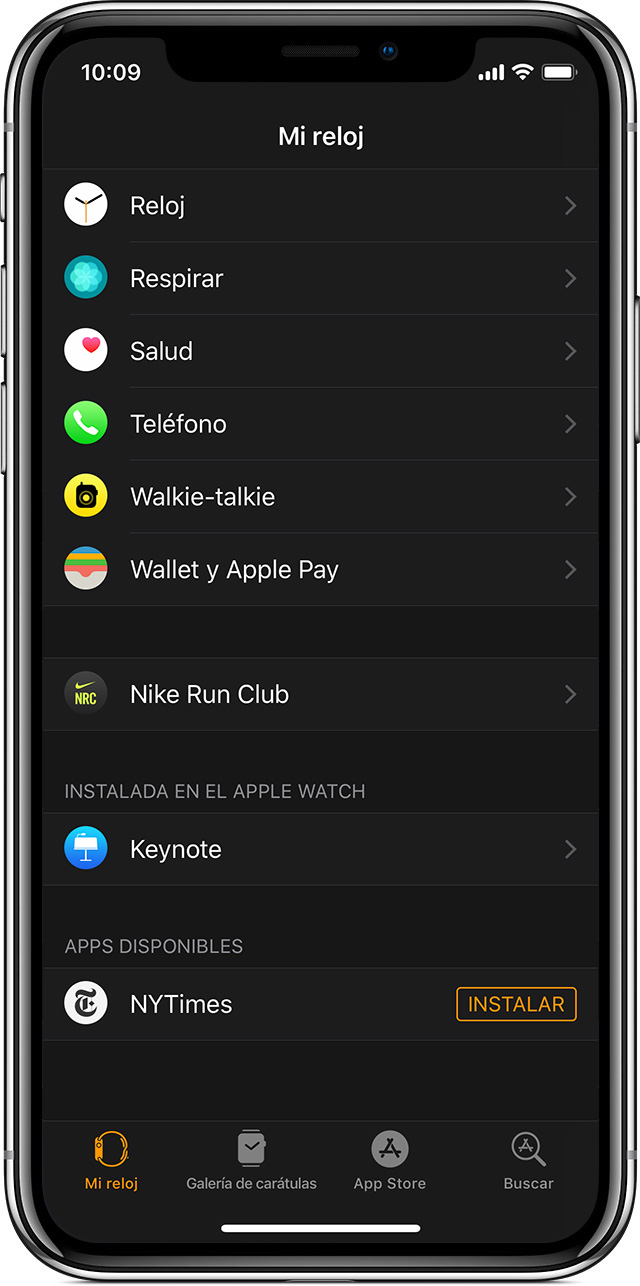 Apps disponibles en la app Apple Watch.