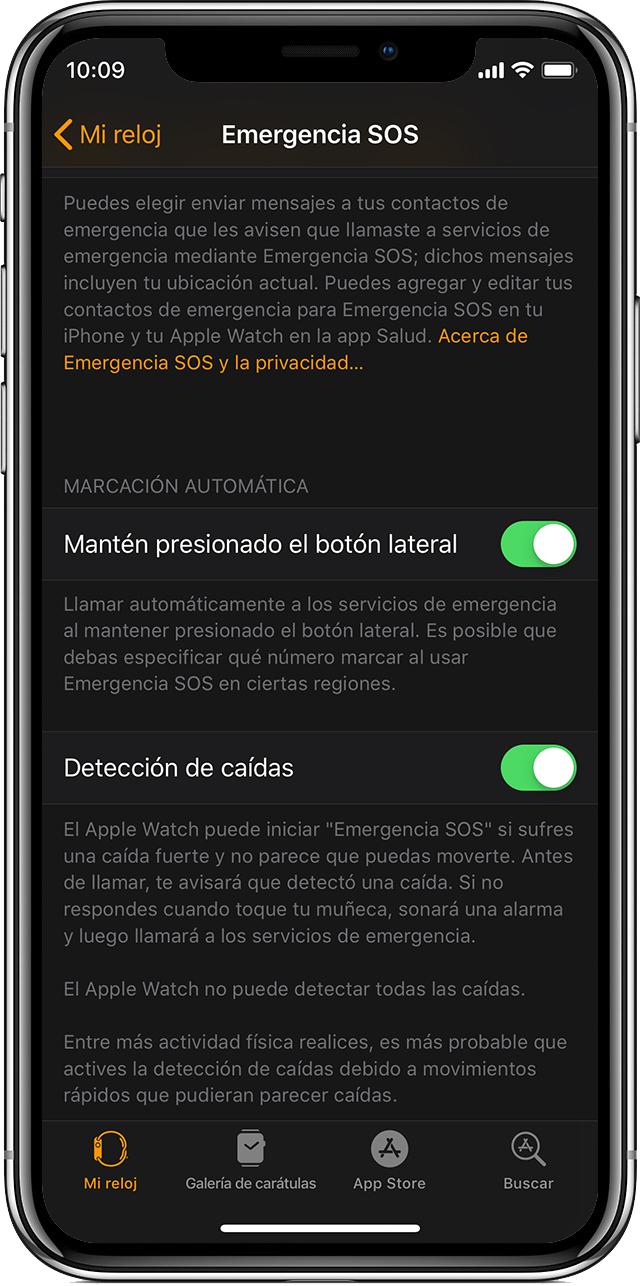 Opciones de EmergenciaSOS en el iPhone.
