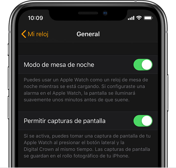 Configuración general en iPhone.