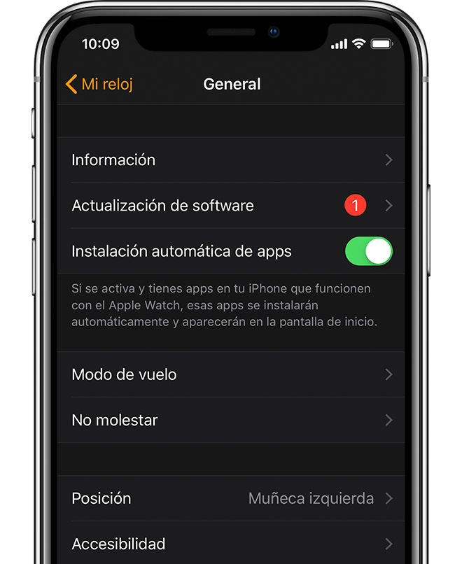 La app Apple Watch que muestra una actualización de software disponible.