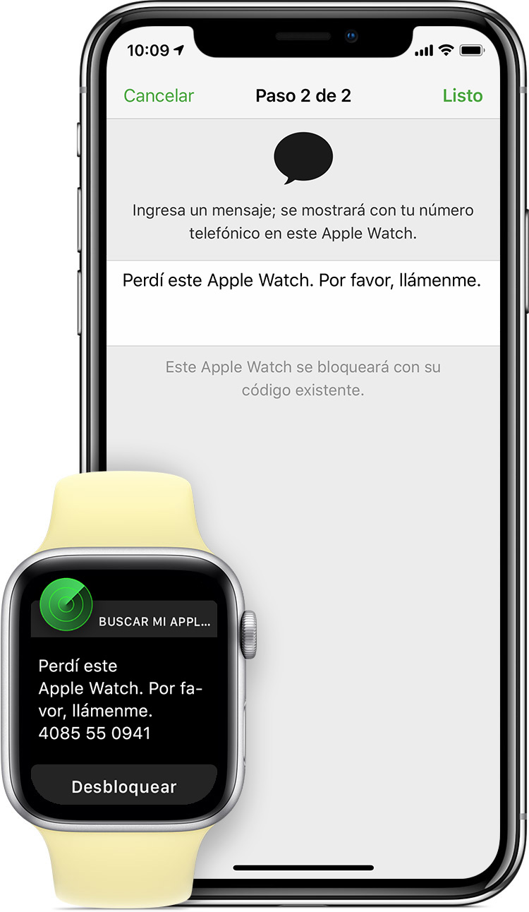 "Mensaje que dice ""Perdí este Apple Watch. Por favor, llámame""."