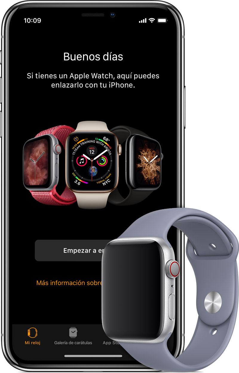 Pantalla Empezar a enlazar en el iPhoneX y reloj con correa azul.