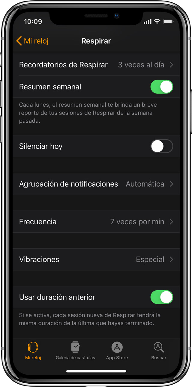 Configuración de Respirar en la app Apple Watch del iPhone.
