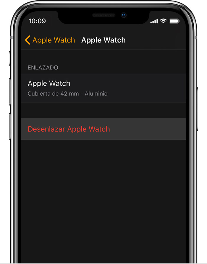 Pantalla Apple Watch en el iPhone, donde se muestran detalles del Apple Watch de aluminio de John.