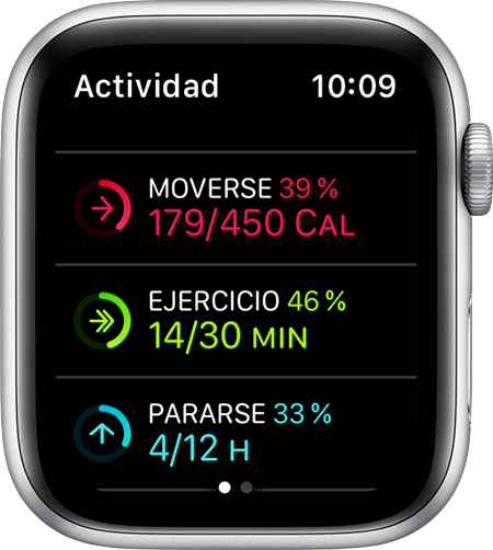 Objetivos de Moverse, Ejercicio y Pararse en el Apple Watch.