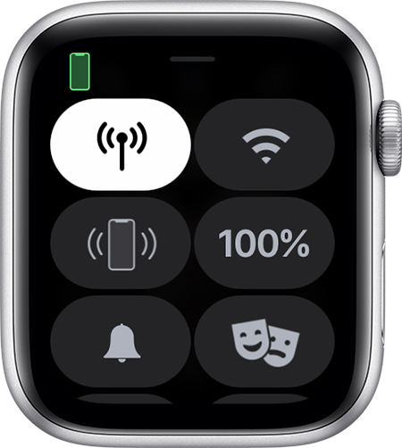 Centro de control en el Apple Watch.