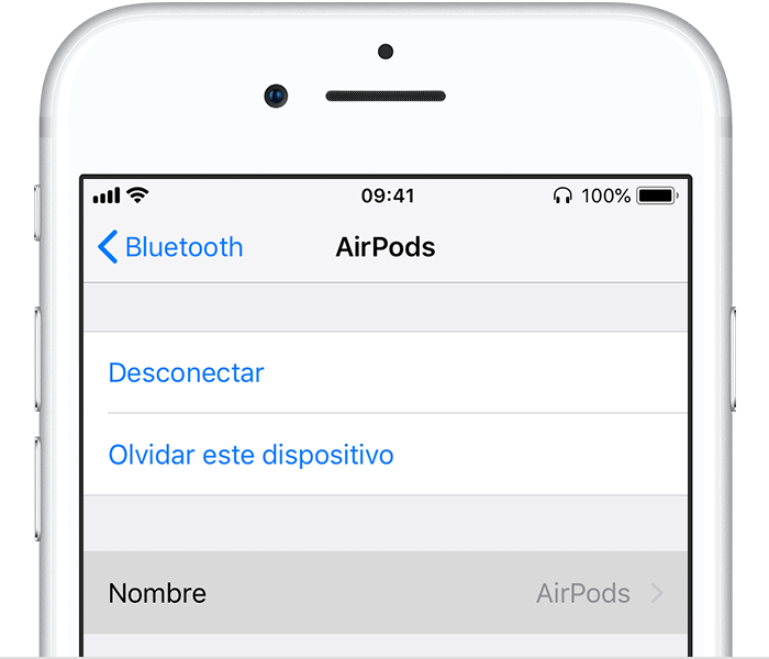 Configuración del dispositivo Bluetooth en iPhone