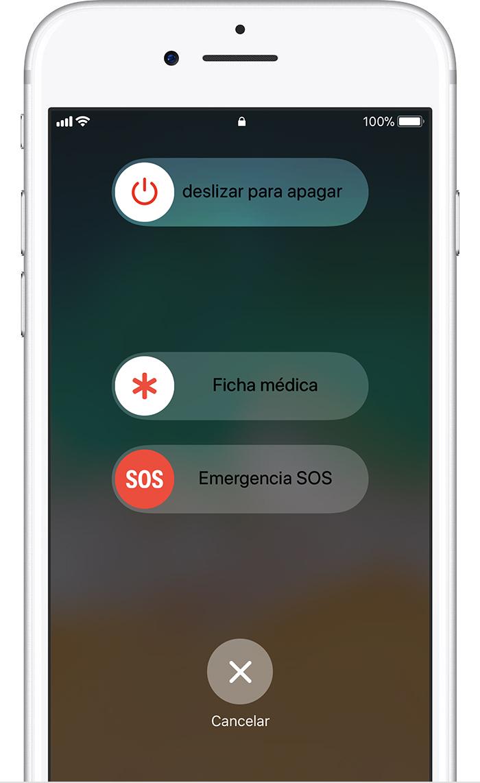 Deslizar el dedo para acceder a las opciones Apagar, Fichamédica y EmergenciaSOS