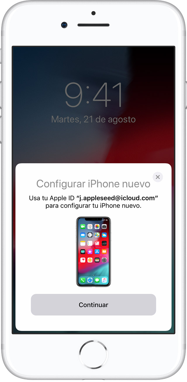 iPhone en el que se muestra la pantalla de Quick Start