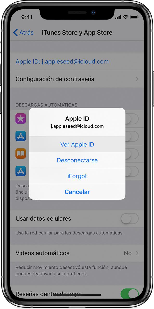 Un iPhoneX en el que se muestra la pantalla Configuración de iTunesStoreyAppStore con el menú de AppleID abierto y la opción Ver AppleID seleccionada.