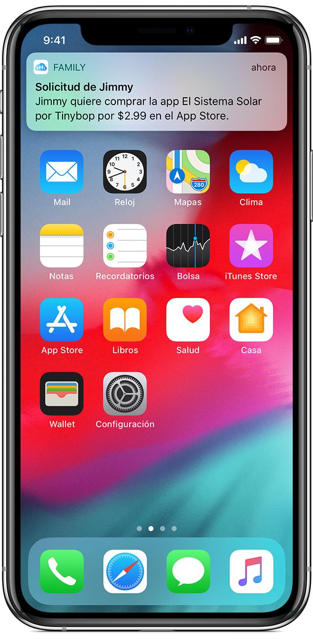 iPhone donde se muestra la solicitud para comprar del miembro de la familia