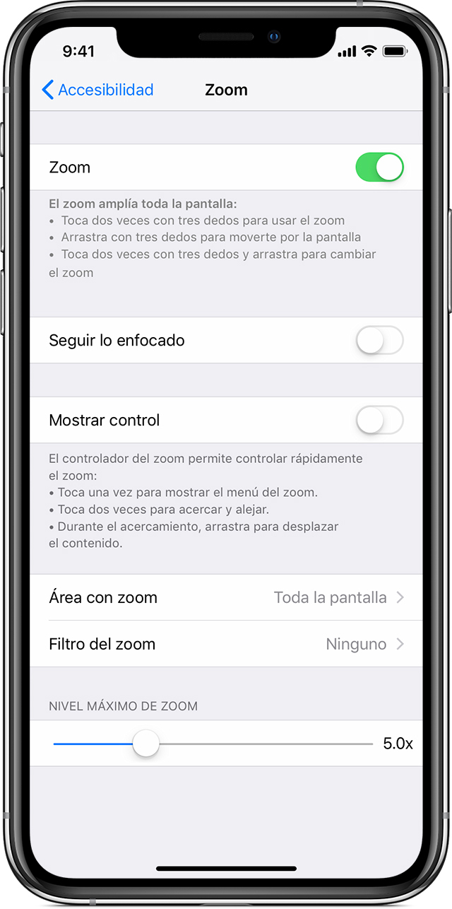 Desactivar el zoom en el iPhone