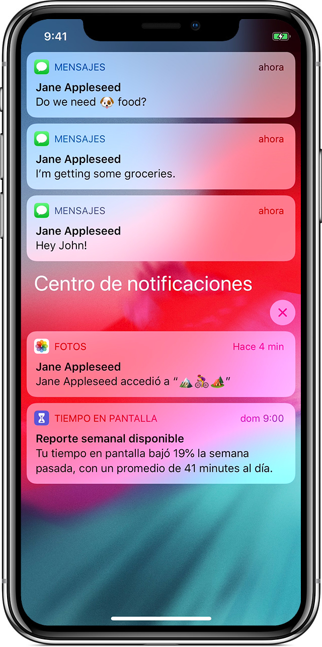 pantalla en la que se muestran las notificaciones en el iPhoneX