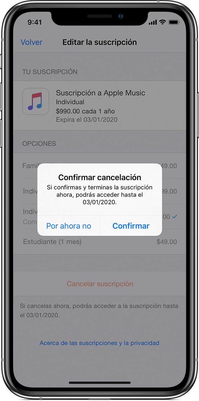 Un iPhoneX en el que se muestra una suscripción a AppleMusic. Aparece una ventana emergente en primer plano, donde se solicita una confirmación para cancelar la suscripción.