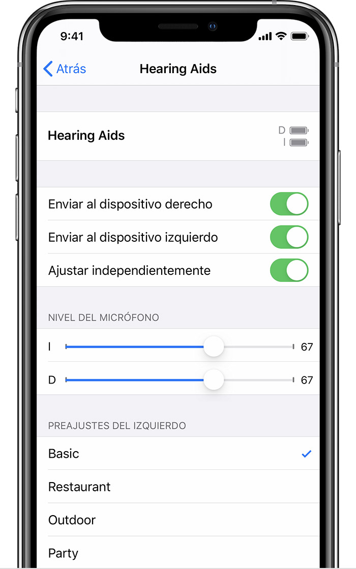 Pantalla de controles de dispositivos auditivos MFi en iPhone