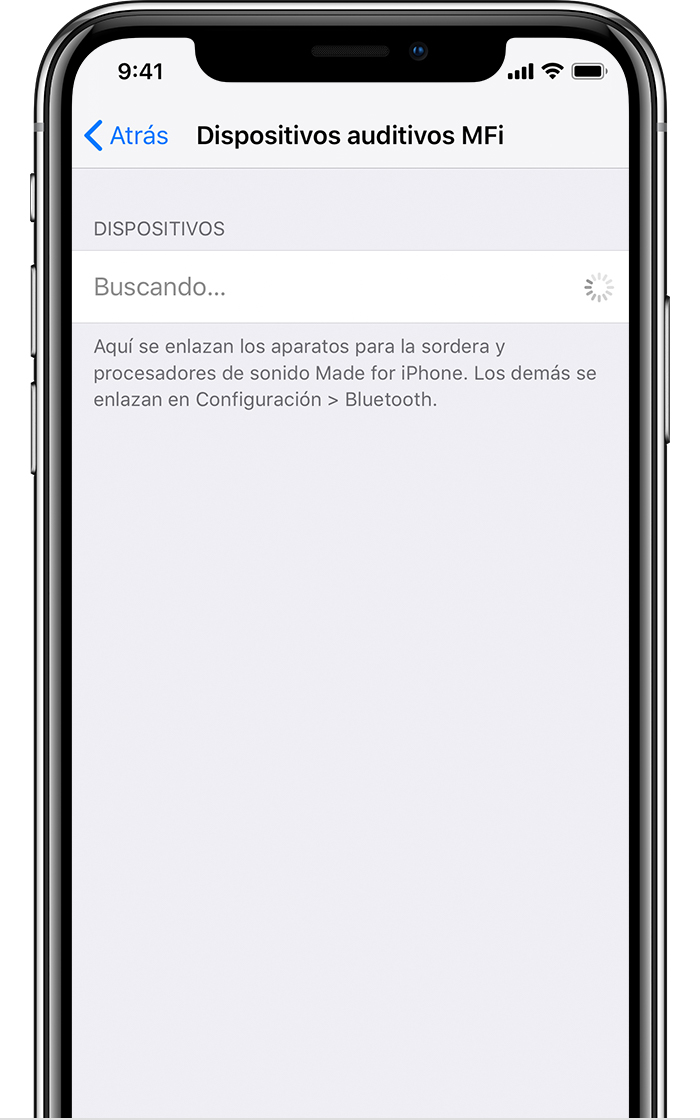 Pantalla de dispositivos auditivos MFi en iPhone