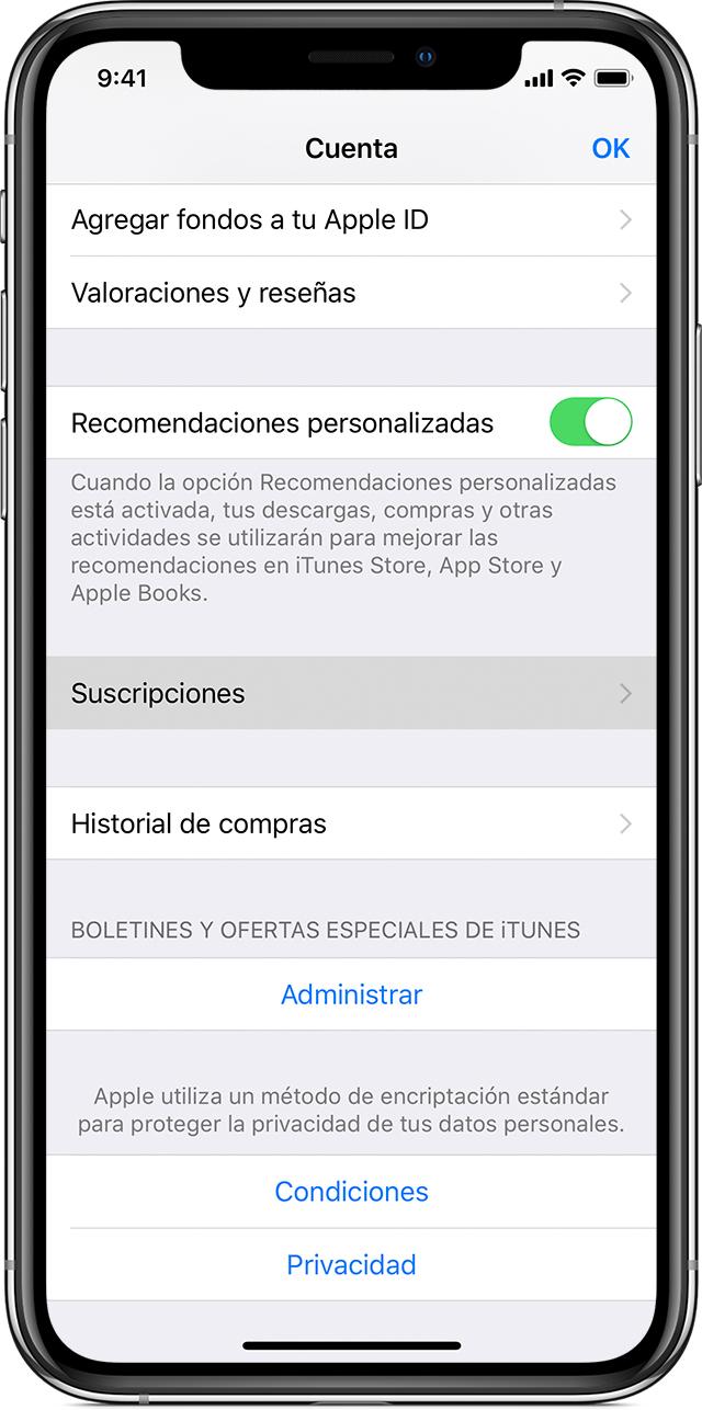 Un iPhoneX en cuya pantalla se muestra la Configuracióndelacuenta. El botón Suscripciones está resaltado.